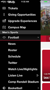 screen capture of menu from the gameday app
