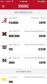 screen capture of schedule from the gameday app
