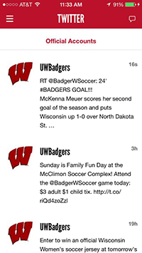 screen capture of Twitter feed from the gameday app
