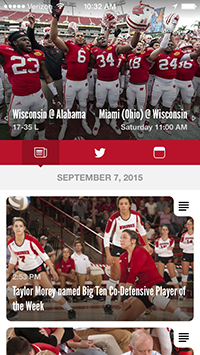 screen capture of Varsity feed from the gameday app