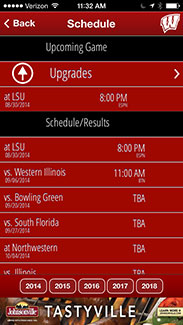 Badger Gameday App Schedules